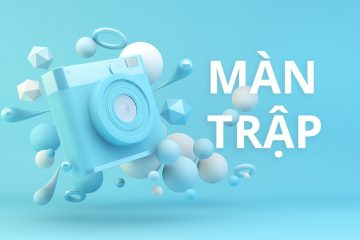 Blue camera surrounded by geometrical shapes 3d rendering