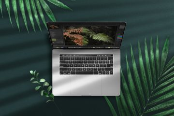 Notebook Pro Mockup top view on a green area with leaves. Background for laptop. Photoshop PSD file